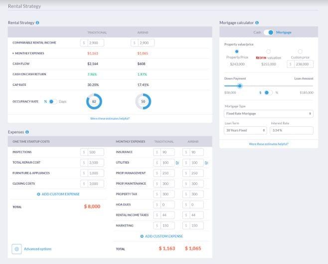 Mashvisor's Expenses & Mortgage Calculator - Rental Property Analysis