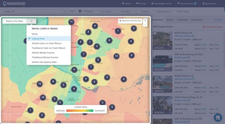 Find high cap rate properties for sale using the heat map