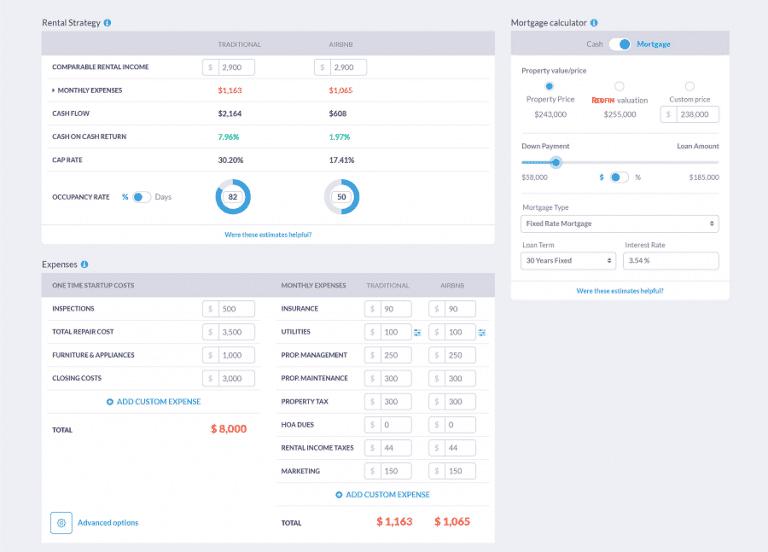 Mashvisor's multi family investment calculator
