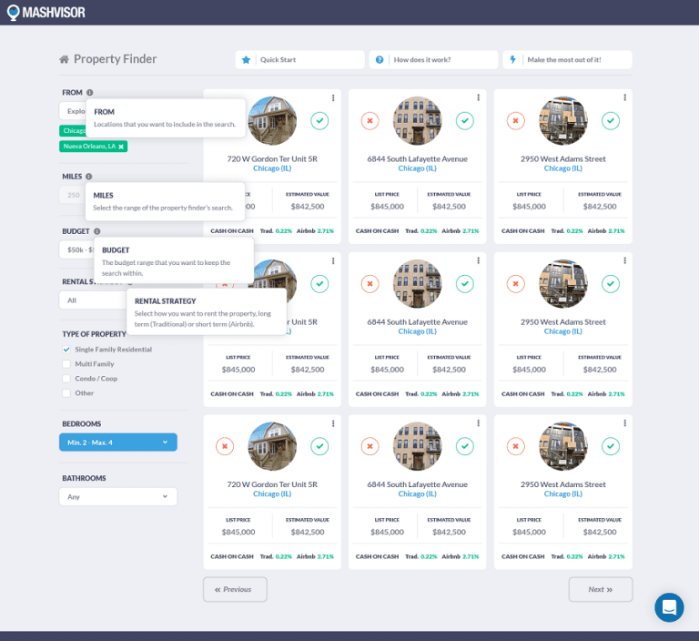 Mashvisor's online property search tool
