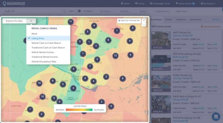 house hacking with Airbnb heatmap