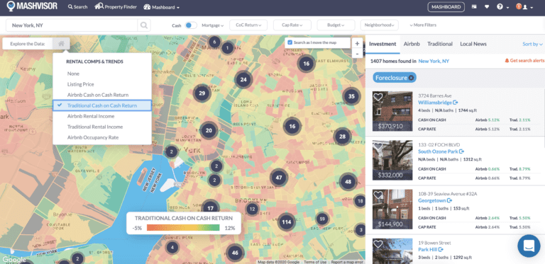 NYC foreclosed homes heatmap