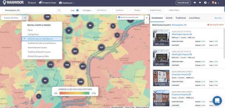 Airbnb Philadelphia neighborhoods heatmap