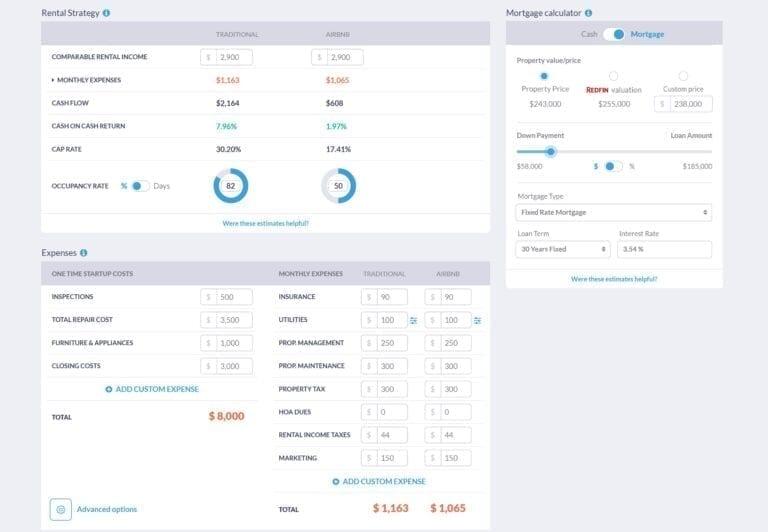 Mashvisor's cash flow analyzer