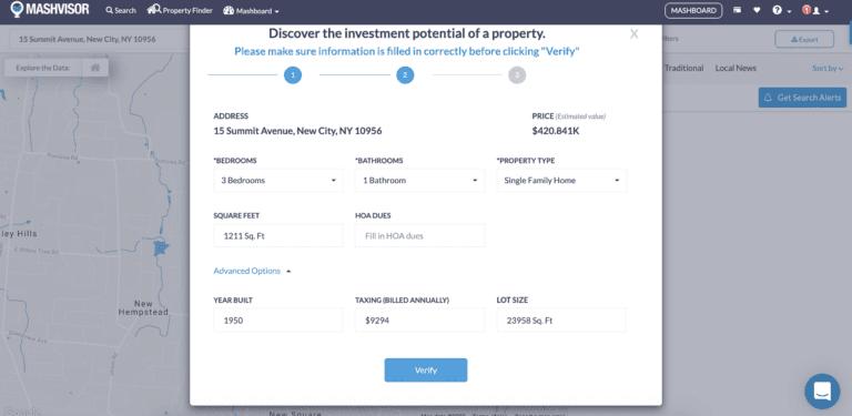 property info on website for off market properties