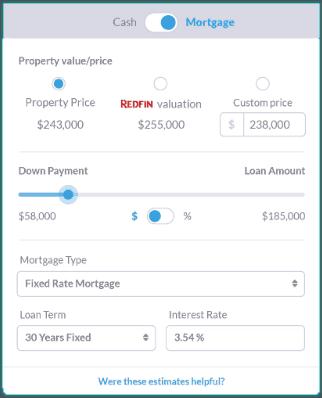 real estate rate of return calculator - financing