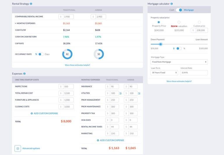 short term rentals - investment property calculator