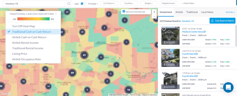 investment property search - real estate heatmap