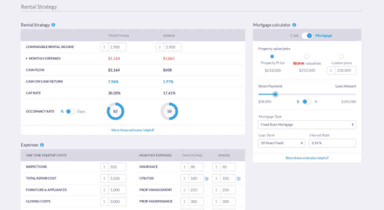 Mashvisor's real estate cash flow calculator