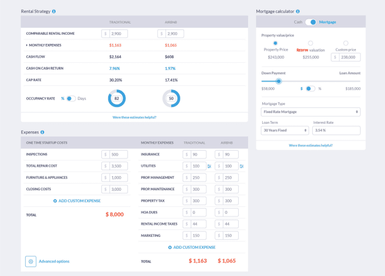 Mashvisor's Airbnb pricing calculator