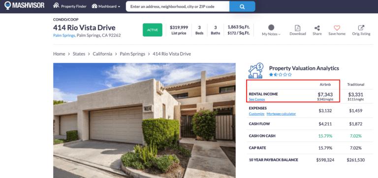 Mashvisor's AIrbnb pricing tool