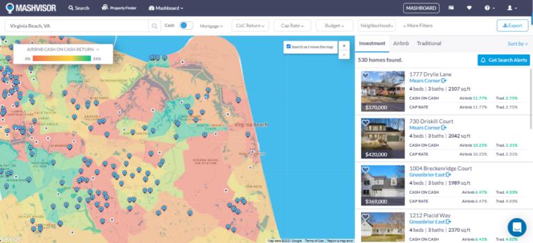 Most Profitable Airbnb Locations 2021 Cash on Cash Return: Real Estate Heatmap