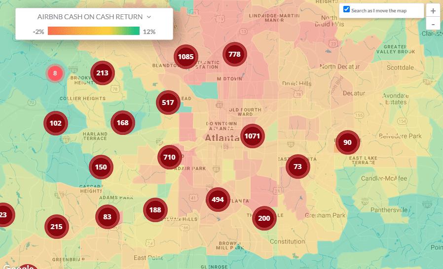 Airbnb Atlanta 2021 Heatmap