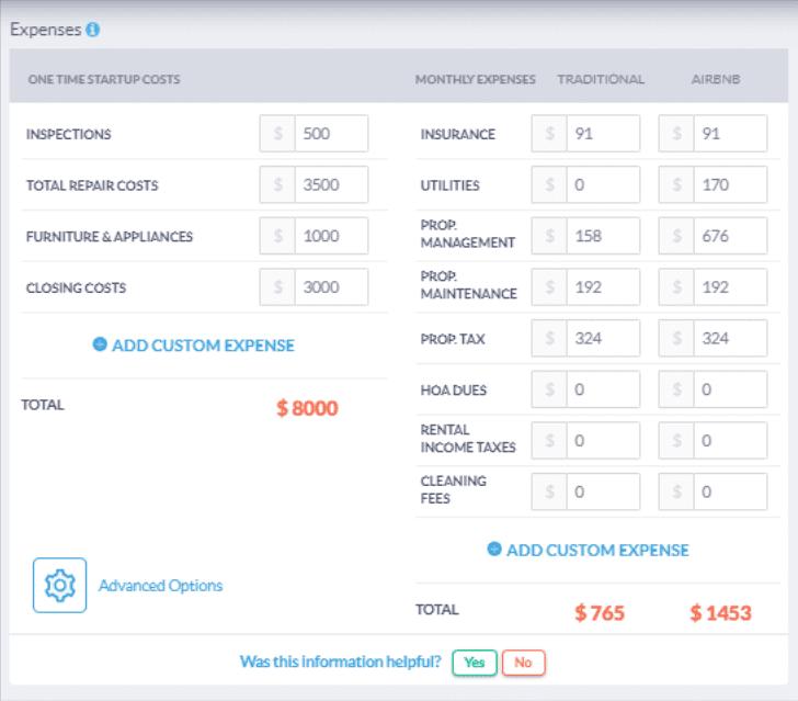 Mashvisor's Investment Property Analysis Calculator: Costs