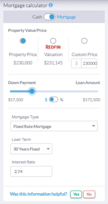 Mashvisor's Investment Property Analysis Calculator: Mortgage