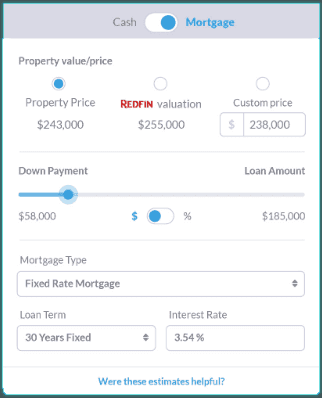 cash on cash return calculator with mortgage info