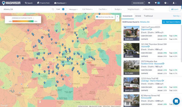 Neighborhood-Level Airbnb Data: Mashvisor Real Estate Heatmap
