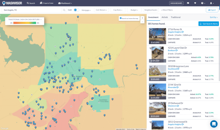 The heatmap helps investors uncover great short term housing investments
