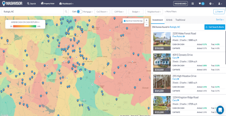 Find lake house rentals with the real estate heatmap