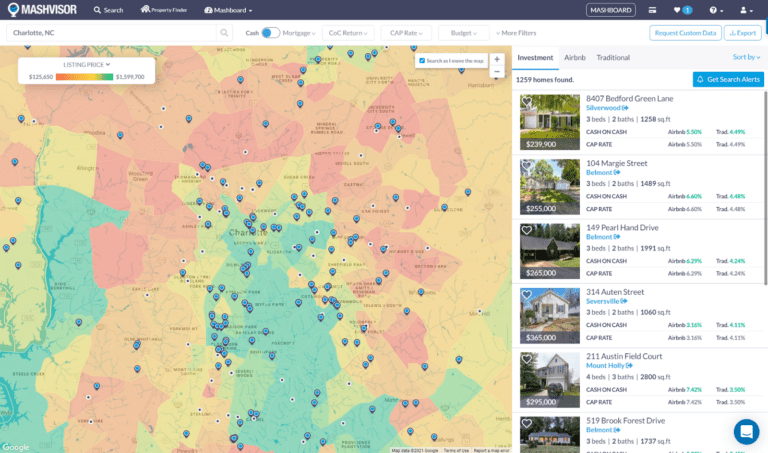 The real estate heatmap will help you find properties that can generate a high return on investment